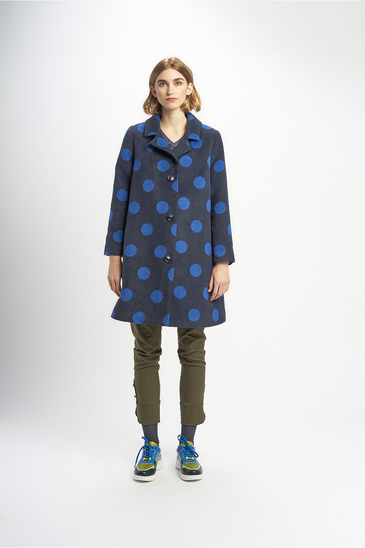Poupée Chic | Abrigo lunares picas tweed bicolor Frontal